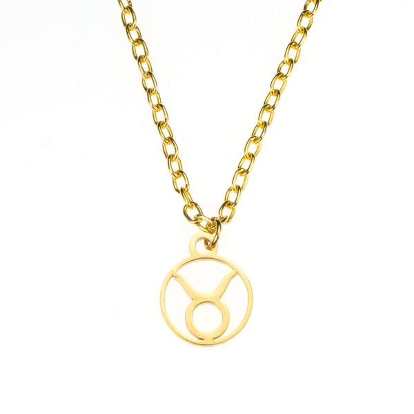 Charming Zodiac Taurus Minimalist Solid Gold Pendant By Jewelry Lane