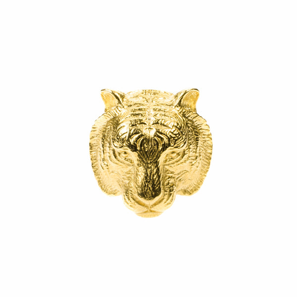 Beautiful Modern Tiger Face Solid Gold Ring By Jewelry Lane