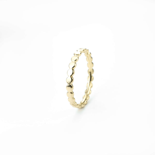 Elegant Sophisticated Tiny Dots Solid Gold Ring By Jewelry Lane