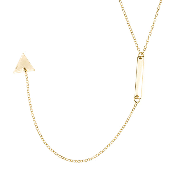 Beautiful Elongated Dangle Drop Triangle Solid Gold Necklace By Jewelry Lane