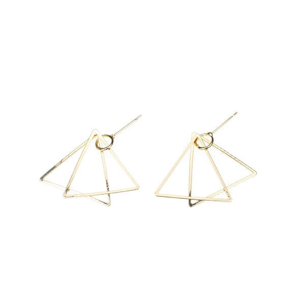 Elegant Classic Double Triangle Design Solid Gold Earrings By Jewelry Lane