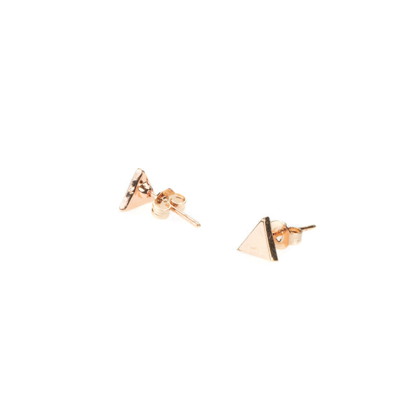 Beautiful Elegant Simple Triangle Solid Gold Stud Earrings By Jewelry Lane