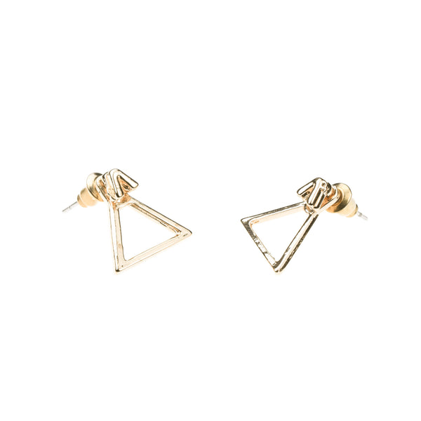 Charming Beautiful Triangle Stud Solid Gold Earrings By Jewelry Lane