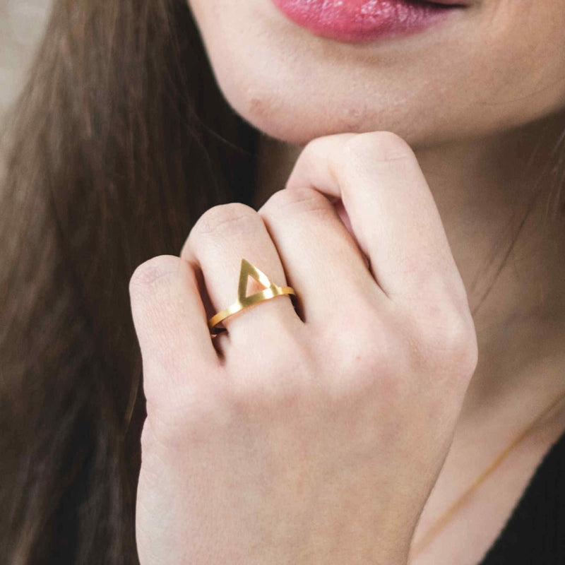 Model Wearing Beautiful Stylish Triangle Wrap Open Cuff Gold Vermeil Ring By Jewelry Lane
