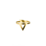 Beautiful Stylish Triangle Wrap Open Cuff Gold Vermeil Ring By Jewelry Lane