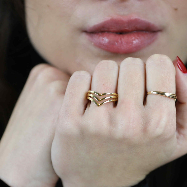 Model Wearing Elegant Unique Triple Chevron Stacker Solid Gold Ring By Jewelry Lane
