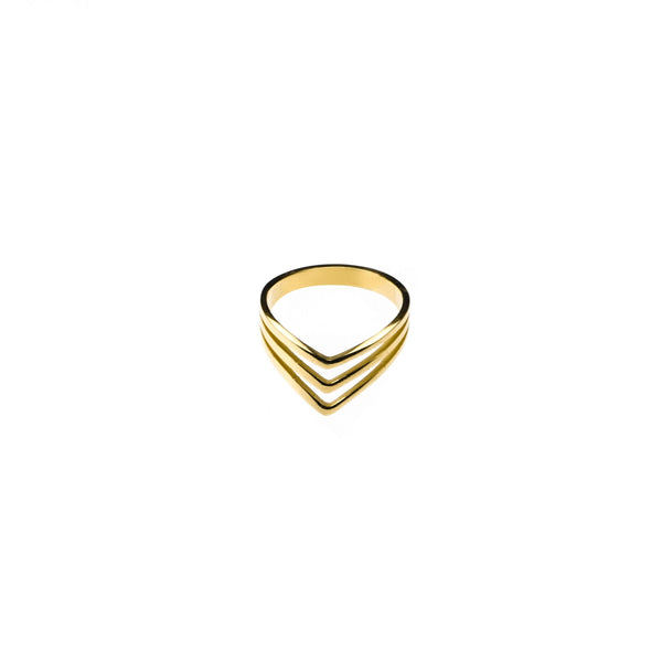 Elegant Unique Triple Chevron Stacker Solid Gold Ring By Jewelry Lane