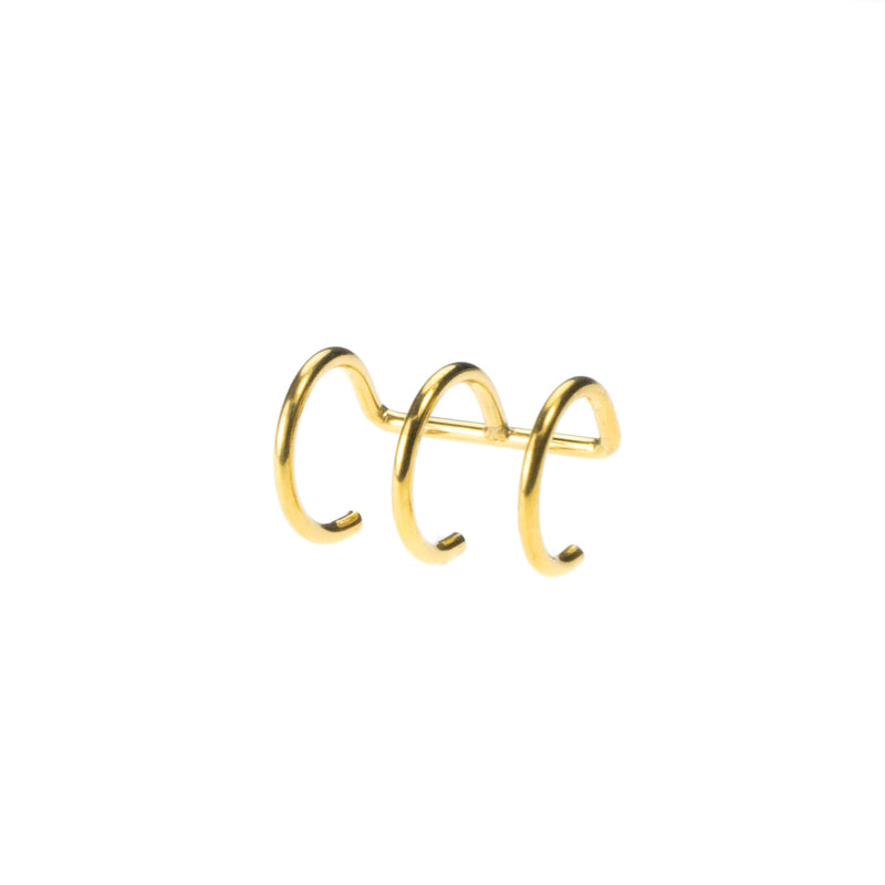 Stylish Unique Triple Hoop Solid Gold Cuff Earrings By Jewelry Lane