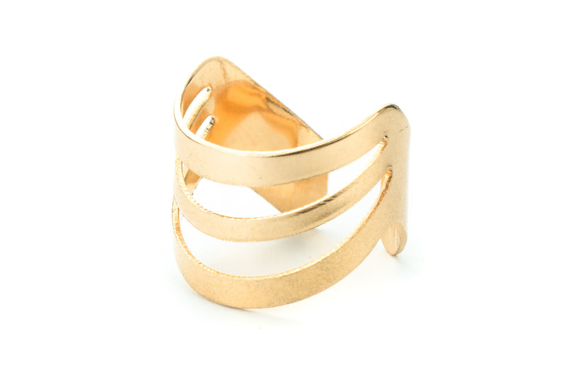 Beautiful Triple Flat Flared Solid Gold Ring By Jewelry Lane