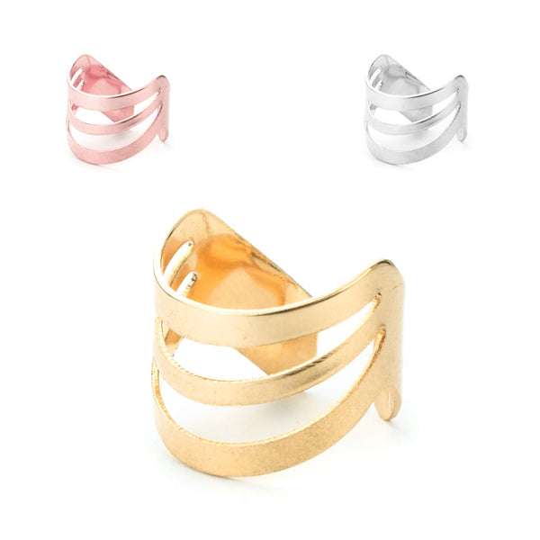 Beautiful Triple Flat Flared Solid Gold Rings By Jewelry Lane