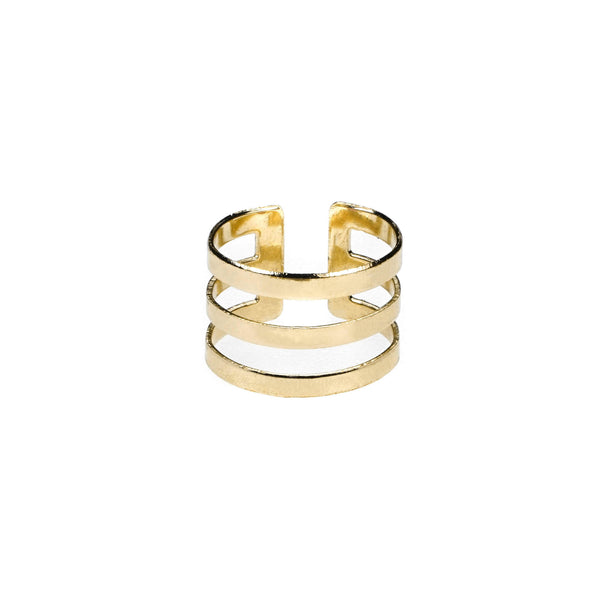 Elegant Unique Triple Line Flat Cuff Solid Gold Ring By Jewelry Lane