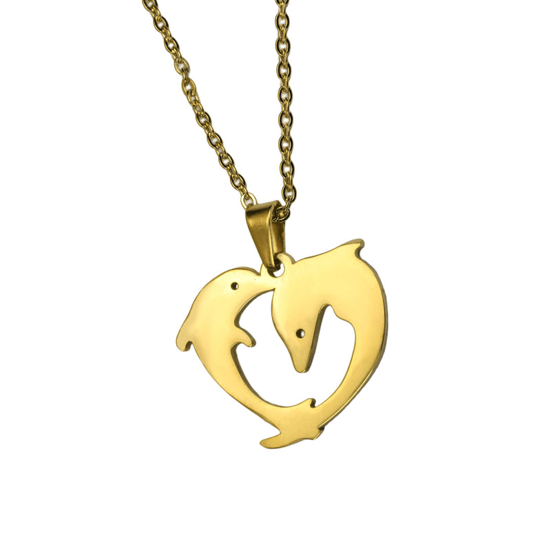 Elegant Twin Dolphin Heart Solid Gold Pendant By Jewelry Lane