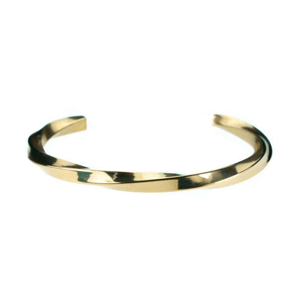 Charming Elegant Twisted Cuff Solid Gold Bangle By Jewelry Lane