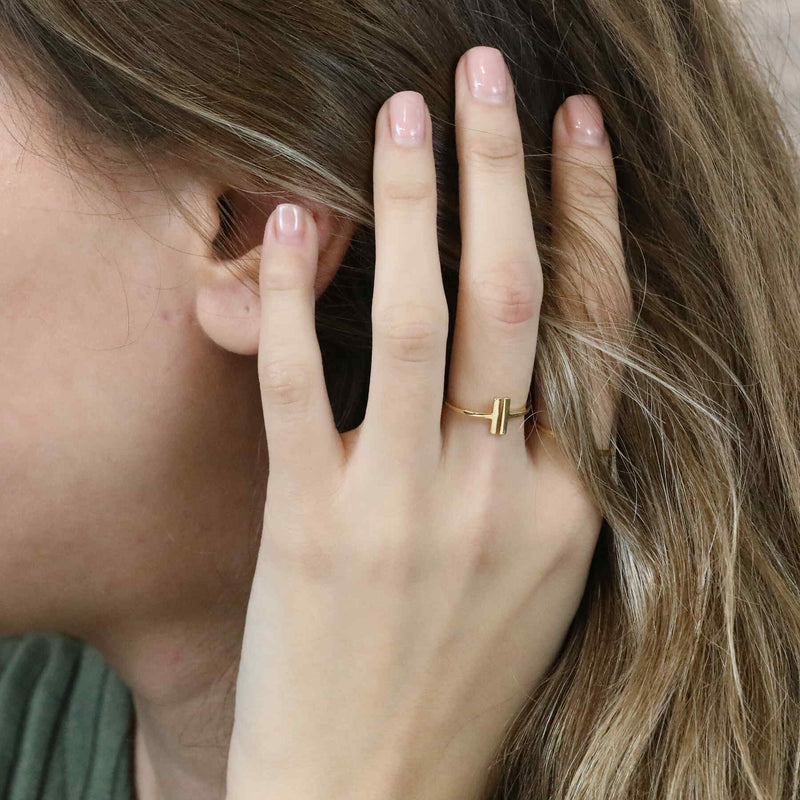 Model Wearing Elegant Modern Two Bar Stacker Solid Gold Ring BY Jewelry Lane