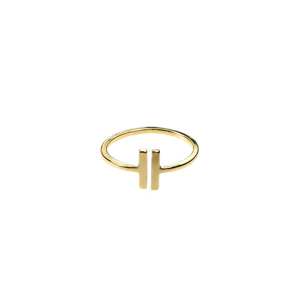 Elegant Modern Two Bar Stacker Solid Gold Ring BY Jewelry Lane