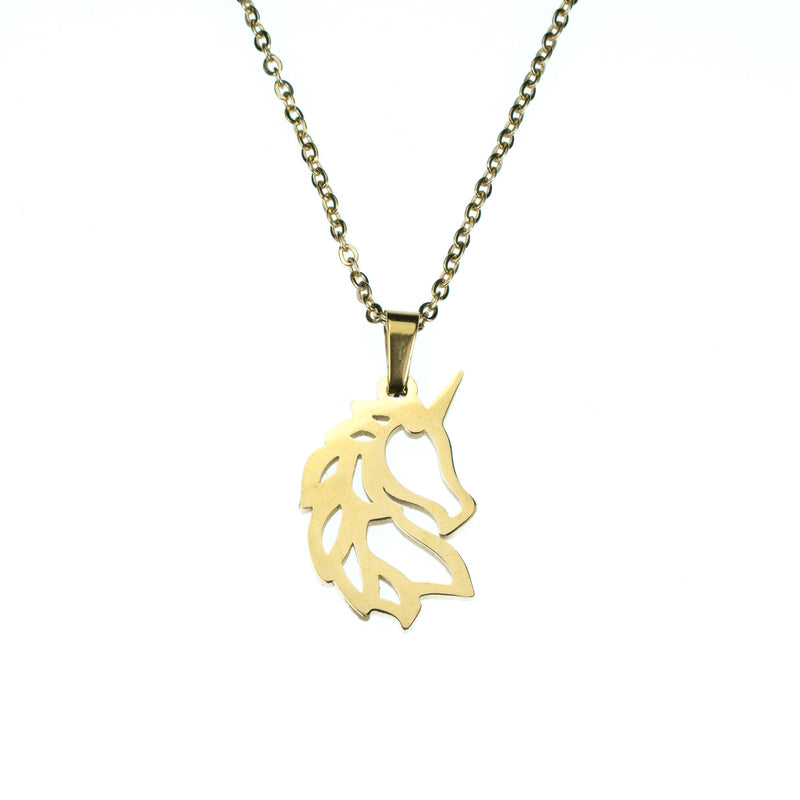 Beautiful Charming Rare Unicorn Solid Gold Necklace By Jewelry Lane