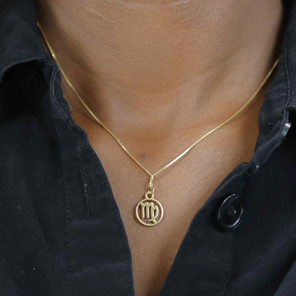Model Wearing Charming Zodiac Virgo Minimalist Solid Gold Pendant By Jewelry Lane