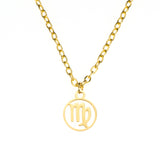 Charming Zodiac Virgo Minimalist Solid Gold Pendant By Jewelry Lane