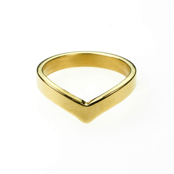 Beautiful Unique Wishbone Design Solid Gold Ring By Jewelry Lane