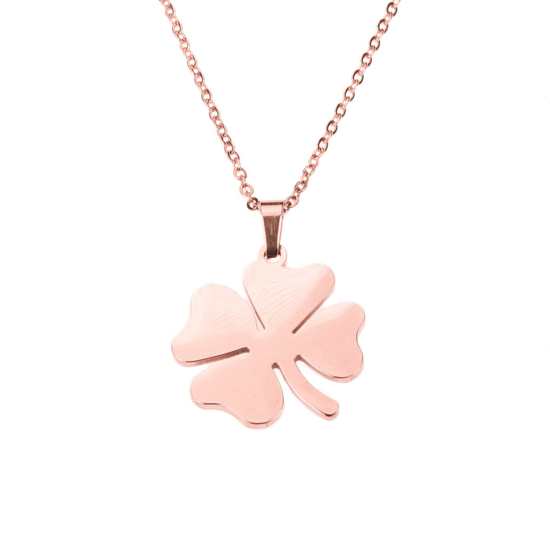 Simple Charming Four Leaf Clover Solid Rose Gold Pendant By Jewelry Lane