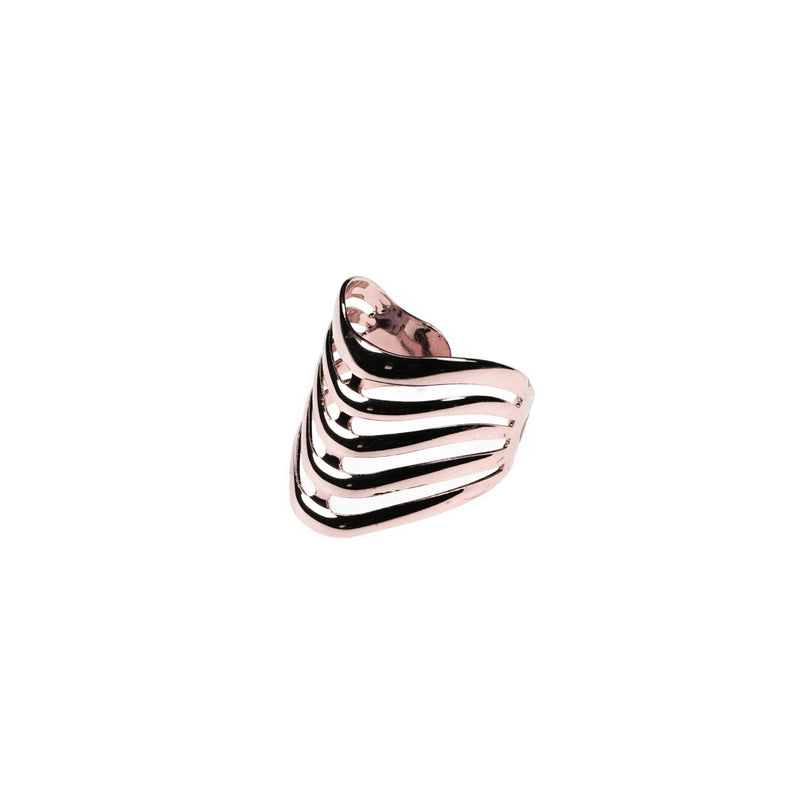 Beautiful Elegant Chevron Cuff Solid Rose Gold Ring BY Jewelry Lane