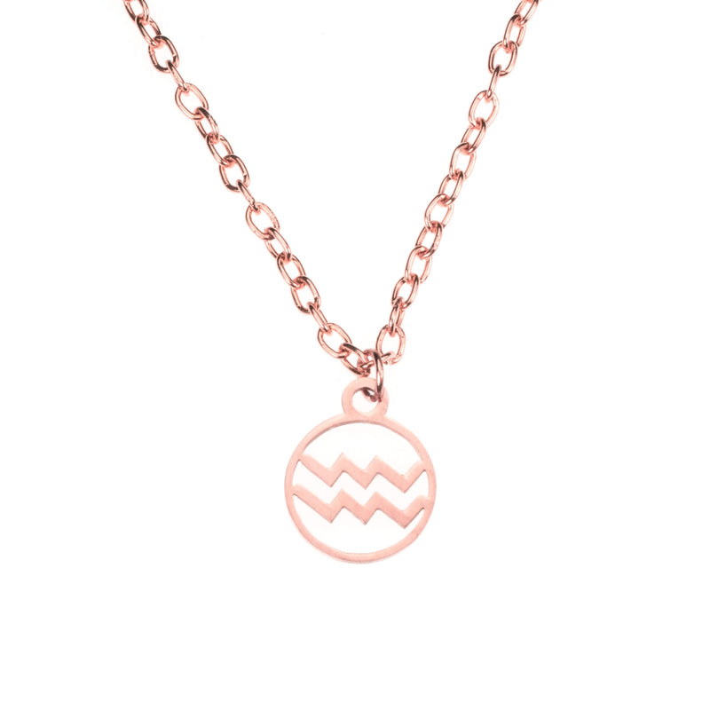 Charming Zodiac Aquarius Minimalist Solid Rose Gold Pendant By Jewelry Lane