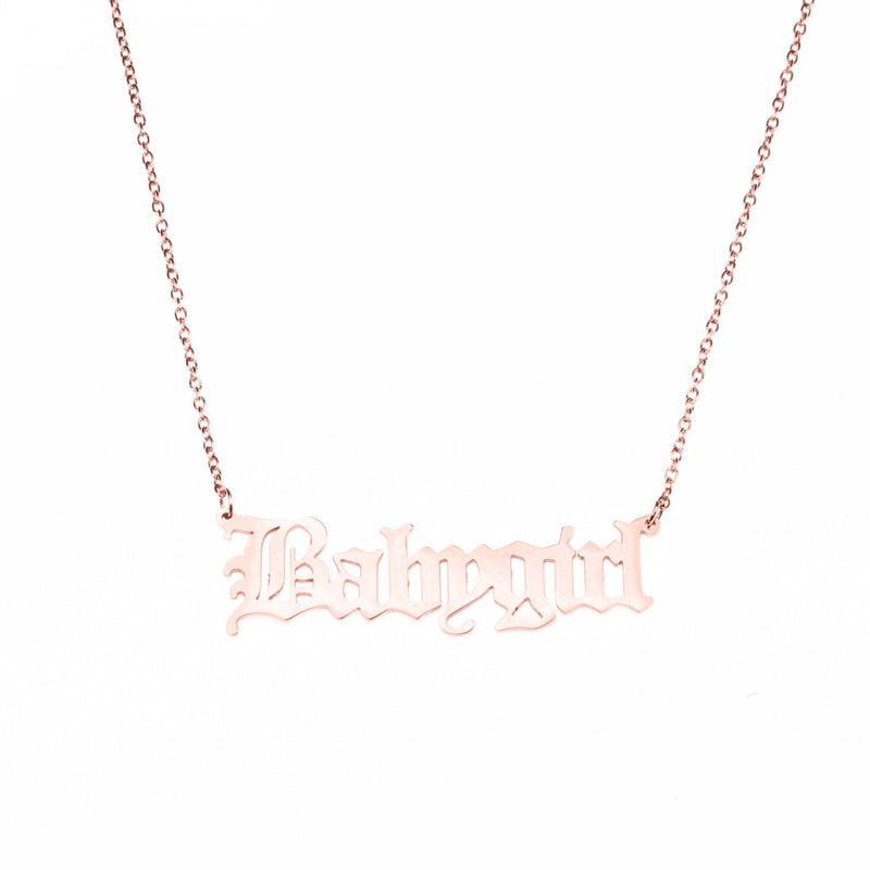 Beautiful Charming Letter Baby Girl Solid Rose Gold Pendant By Jewelry Lane