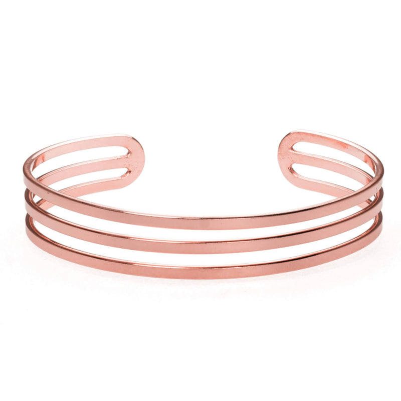 Three Ring Solid Rose Gold Cuff Bangle by Jewelry Lane