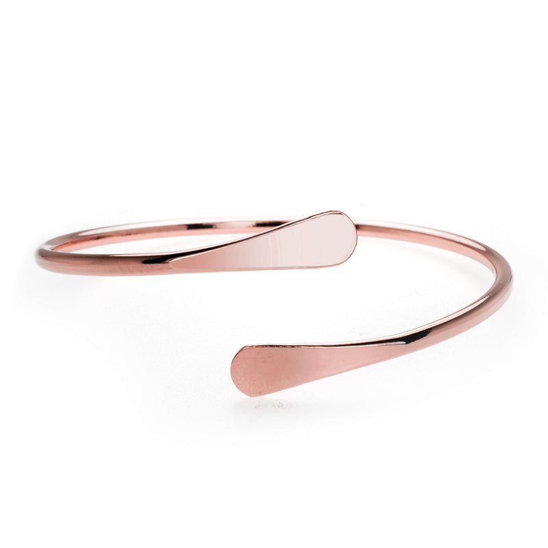 Solid Rose Gold Open Cuff Bangle by Jewelry Lane