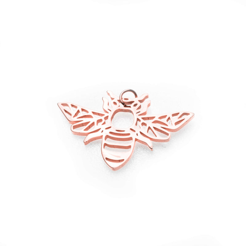 Beautiful Charming Bee Solid Rose Gold Pendant By Jewelry Lane
