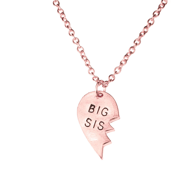 Beautiful Loving Big Sis Half Heart Design Solid Rose Gold Necklace By Jewelry Lane