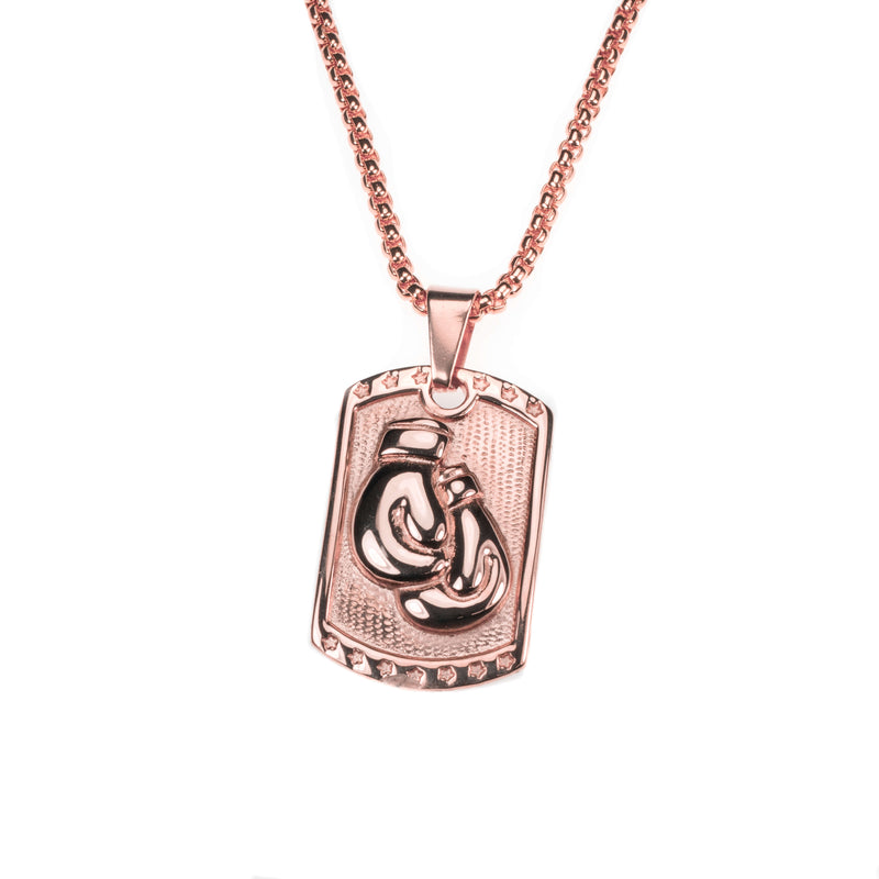 Beautiful Rectangular Boxing Gloves Solid Rose Gold Pendant By Jewelry Lane