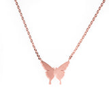 Beautiful Gorgeous Butterfly Solid Rose Gold Necklace By Jewelry Lane
