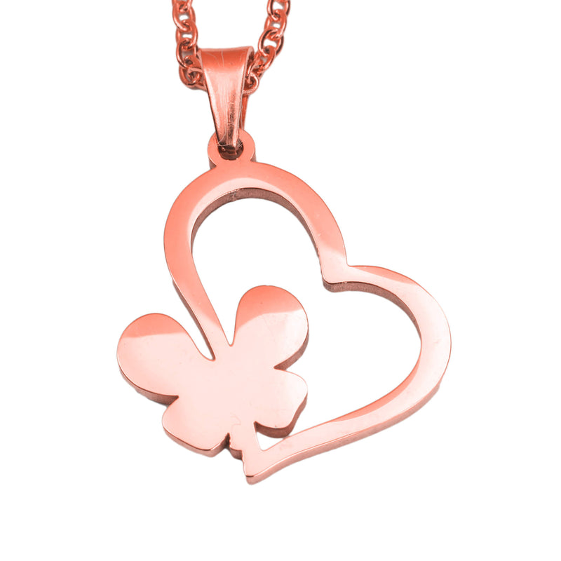 Exquisite Irish Love Butterfly Tilted Heart Solid Rose Gold Pendant By Jewelry Lane