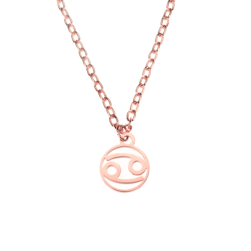 Charming Zodiac Cancer Minimalist Solid Rose Gold Pendant By Jewelry Lane
