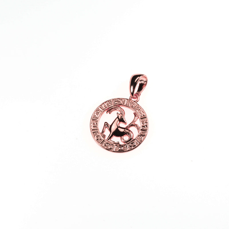 Beautiful Zodiac Capricorn Solid Rose Gold Pendant By Jewelry Lane