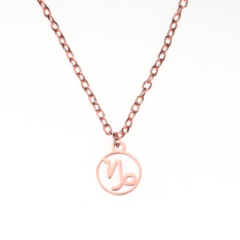 Charming Zodiac Capricorn Minimalist Solid Rose Gold Pendant By Jewelry Lane