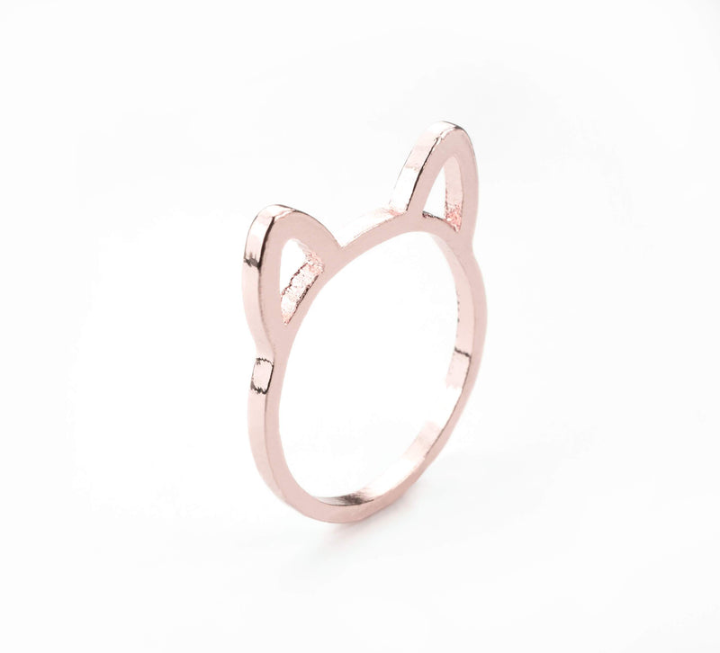 Beautiful Charming Cat Ears Rose Gold Vermeil Ring By Jewelry Lane