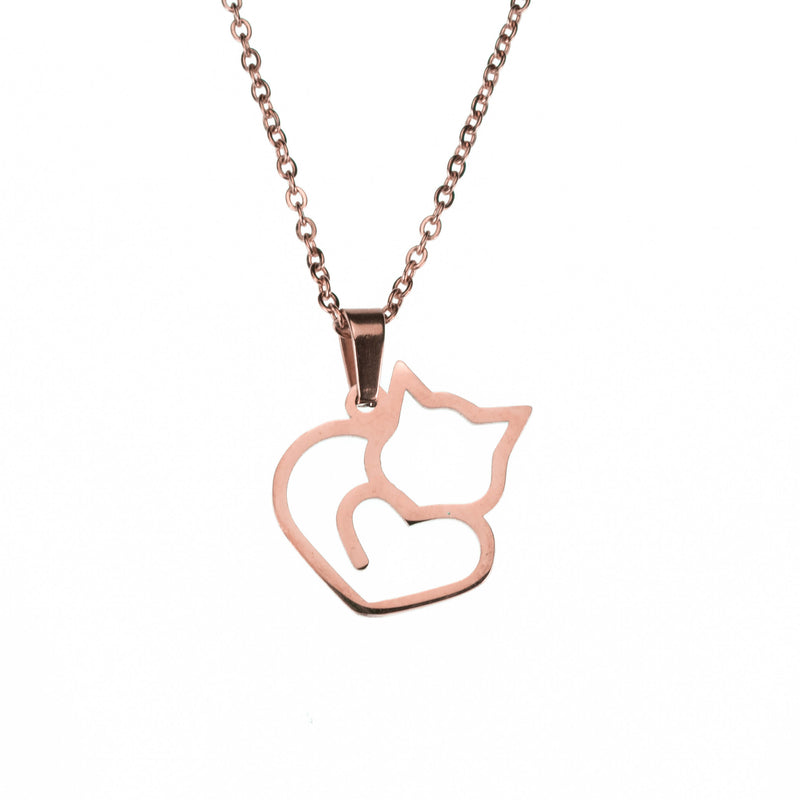 Beautiful Unique Cat Love Heart Design Solid Rose Gold Pendant By Jewelry Lane