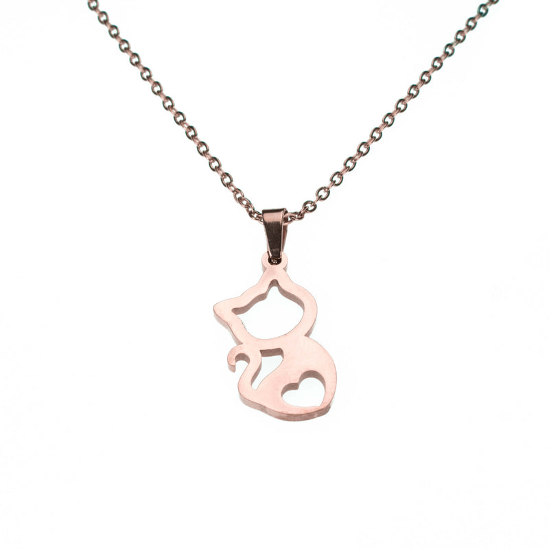 Beautiful Charming Kitty Love Solid Rose Gold Necklace By Jewelry Lane