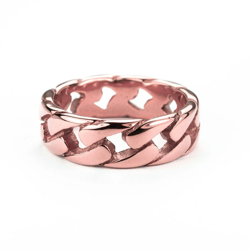 Beautiful Stylish Chain Design Solid Rose Gold Band Ring By Jewelry Lane