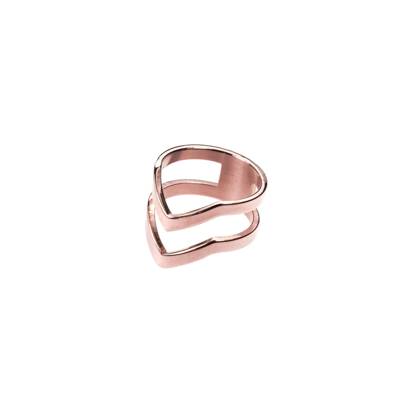 The Double Chevron Stacker Ring in Tose Gold Vermeil by Jewelry Lane
