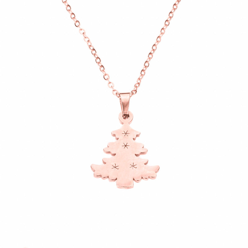 Beautiful Charming Christmas Tree Solid Rose Gold Pendant by Jewelry Lane