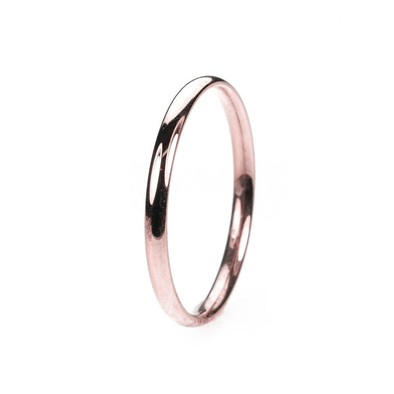 Simple Sleek Classic Solid Rose Gold Band Ring By Jewelry Lane