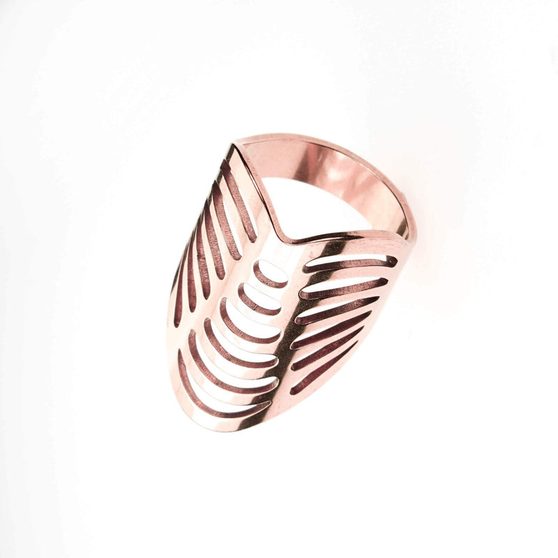 Beautiful Classic Hollow Design Large Solid Rose Gold Ring By Jewelry Lane