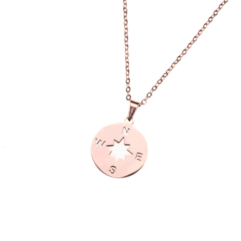 Beautiful Classic Compass Design Solid Rose Gold Necklace By Jewelry Lane