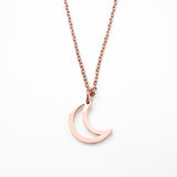 Beautiful Charm Crescent Moon Solid Rose Gold Pendant By Jewelry Lane