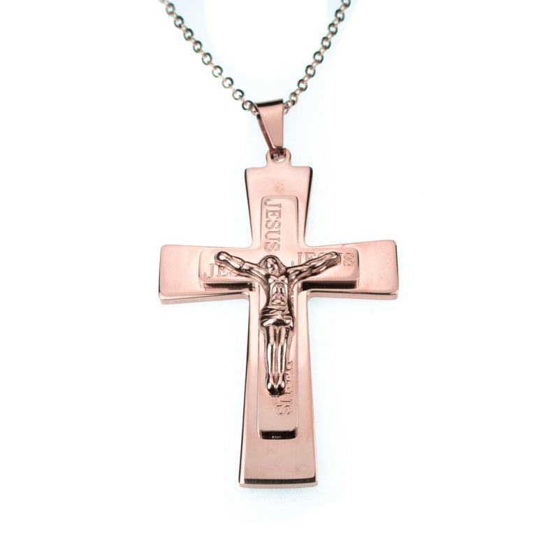 Simple Religious Jesus Cross Solid Rose Gold Pendant By Jewelry Lane