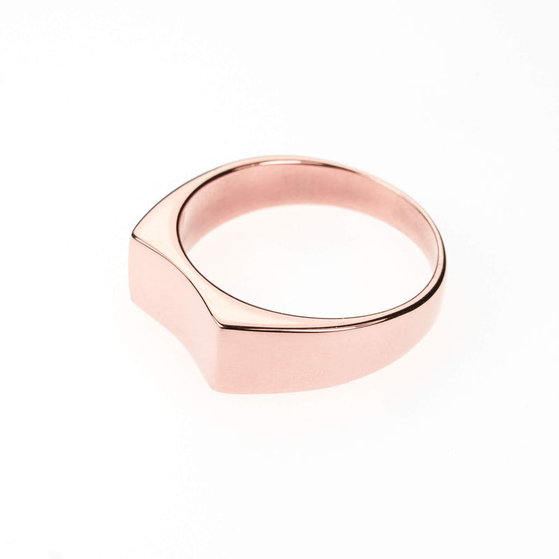 Simple Plain Polished Curve Statement Solid Rose Gold Ring By Jewelry Lane