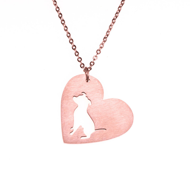 Beautiful Modern Dog Heart Love Solid Rose Gold Pendant By Jewelry Lane